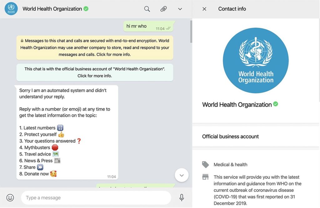The WHO has launched a WhatsApp chatbot to warn people about Covid-19 dangers