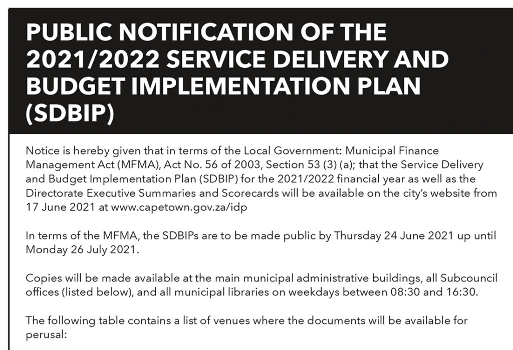 PUBLIC NOTIFICATION OF THE 2021/2022 SERVICE DELIVERY AND BUDGET IMPLEMENTATION PLAN